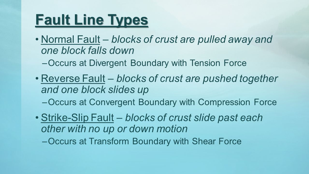 Fault Line Types Normal Fault – blocks of crust are pulled away and one block falls down. Occurs at Divergent Boundary with Tension Force.