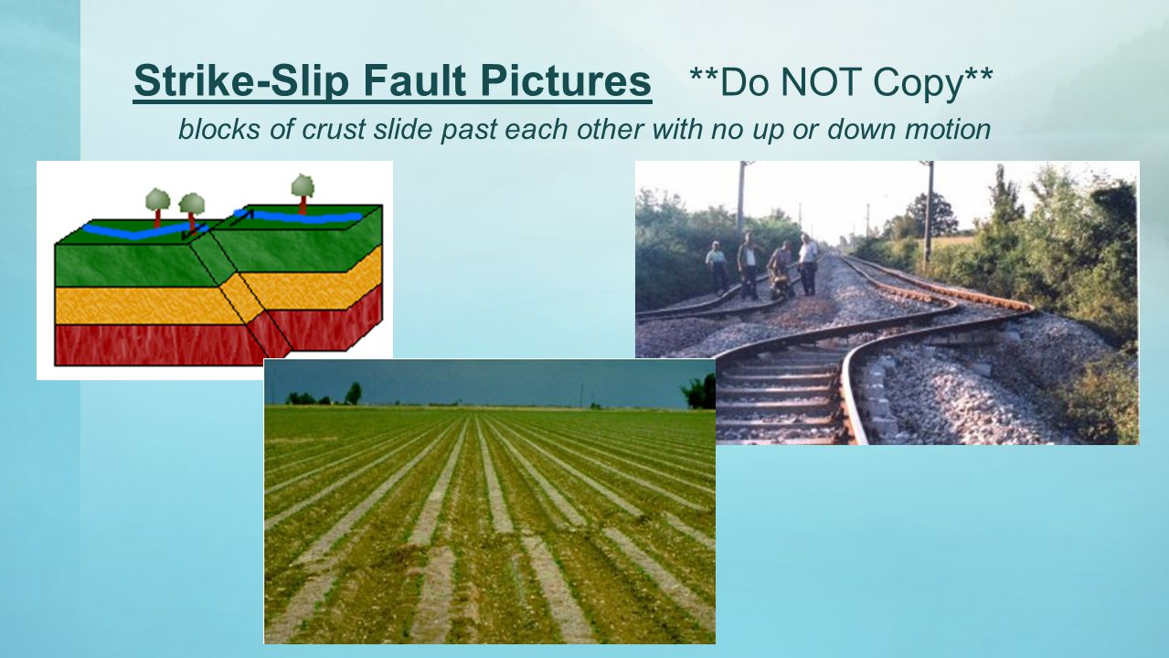 Strike-Slip Fault Pictures **Do NOT Copy**