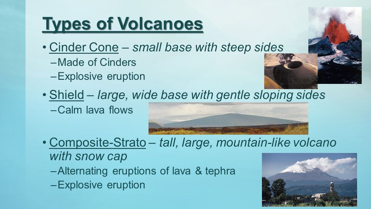 Types of Volcanoes Cinder Cone – small base with steep sides