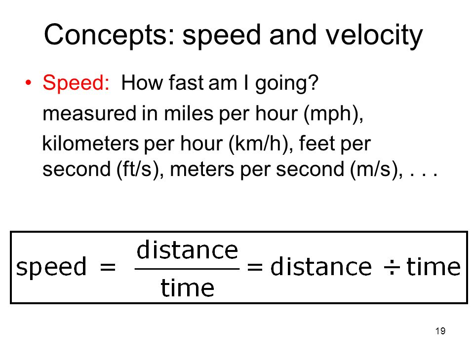 Concepts: speed and velocity
