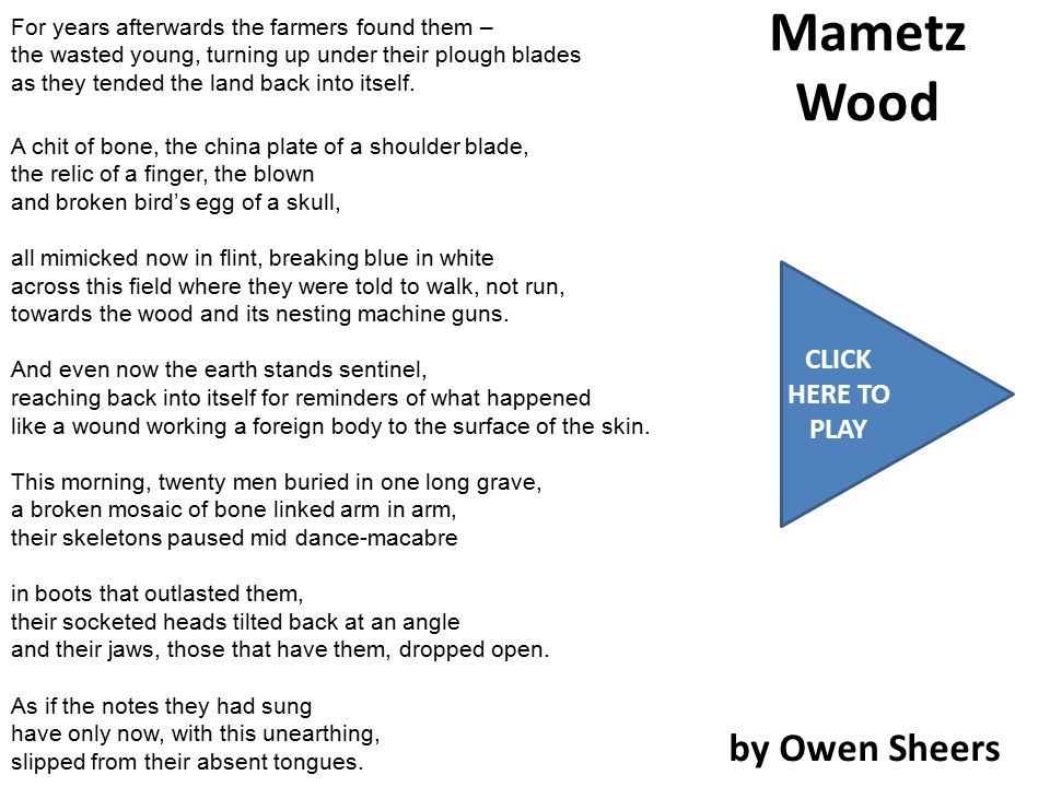 Mametz Wood by Owen Sheers CLICK HERE TO PLAY