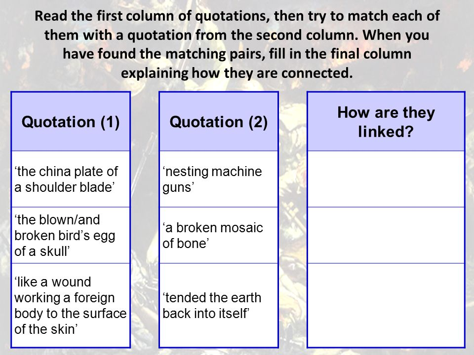 Read the first column of quotations, then try to match each of them with a quotation from the second column. When you have found the matching pairs, fill in the final column explaining how they are connected.