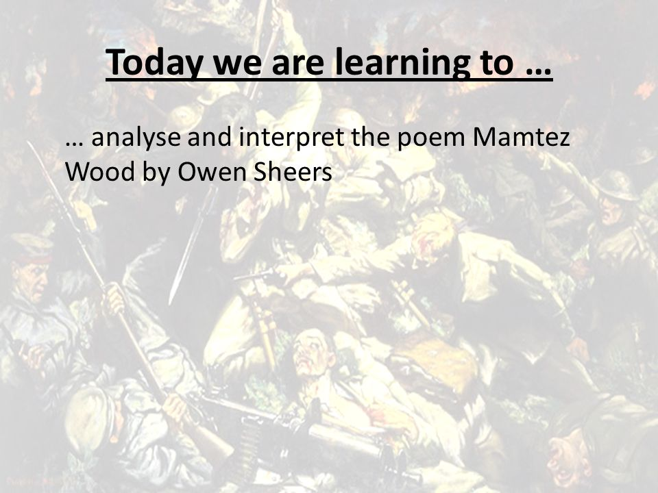 Today we are learning to …