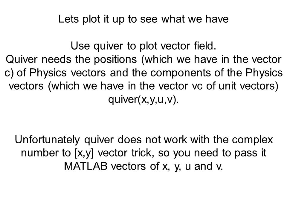 Lets plot it up to see what we have Use quiver to plot vector field.
