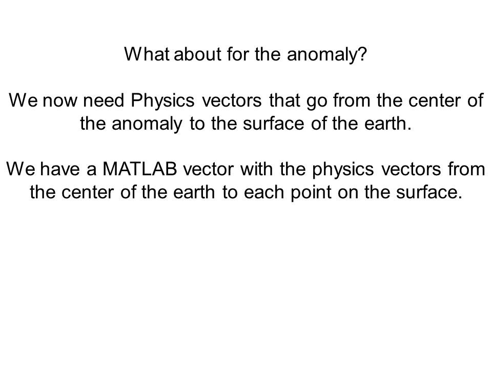 What about for the anomaly