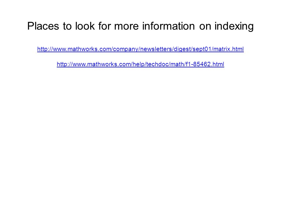 Places to look for more information on indexing
