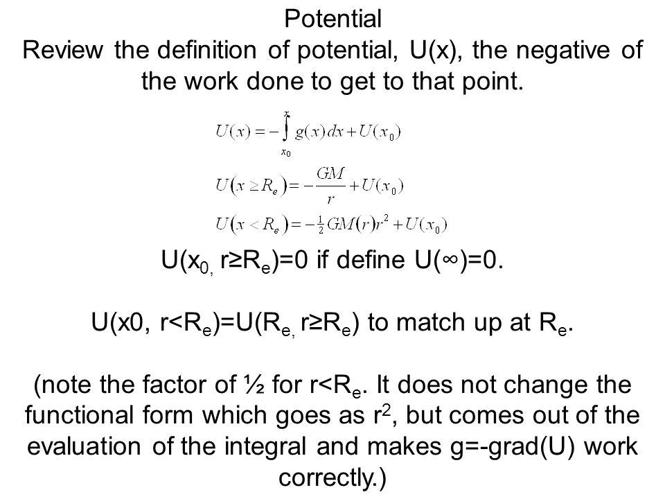 U(x0, r≥Re)=0 if define U(∞)=0.