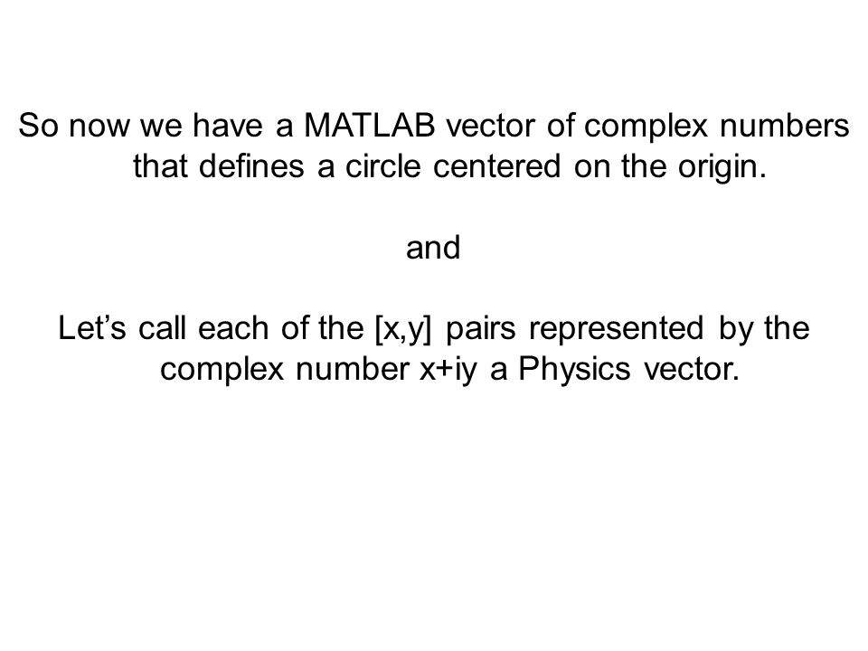So now we have a MATLAB vector of complex numbers that defines a circle centered on the origin.