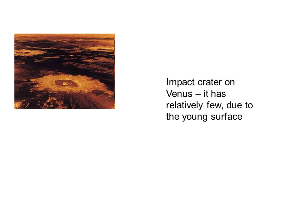 Impact crater on Venus – it has relatively few, due to the young surface