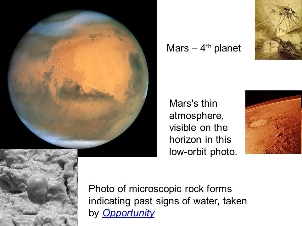 Mars – 4th planet Mars s thin atmosphere, visible on the horizon in this low-orbit photo.