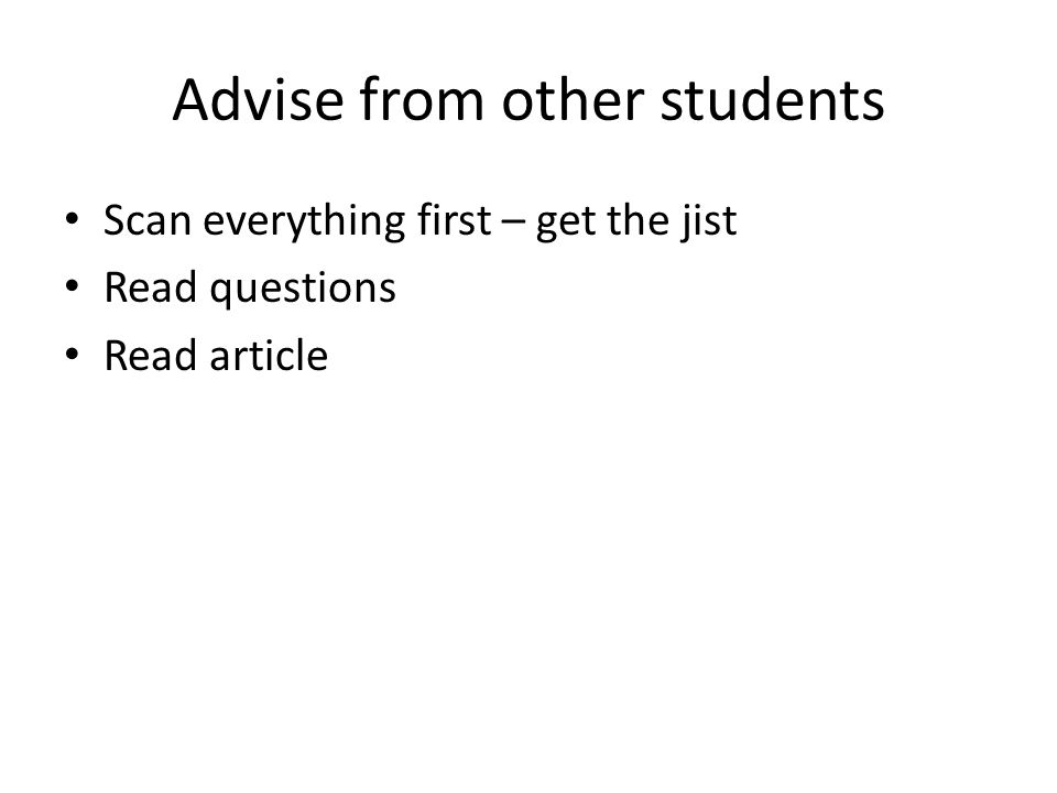 Advise from other students