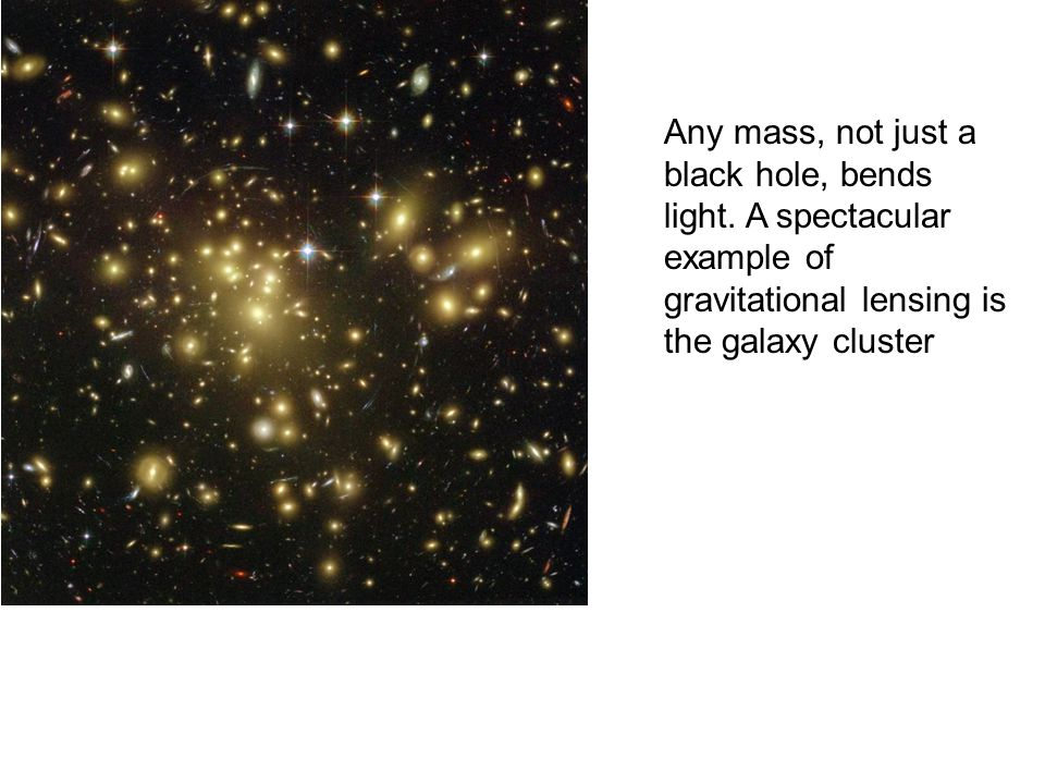 Any mass, not just a black hole, bends light