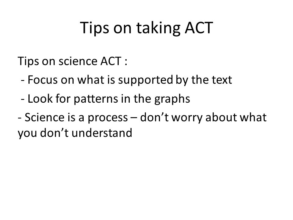 Tips on taking ACT