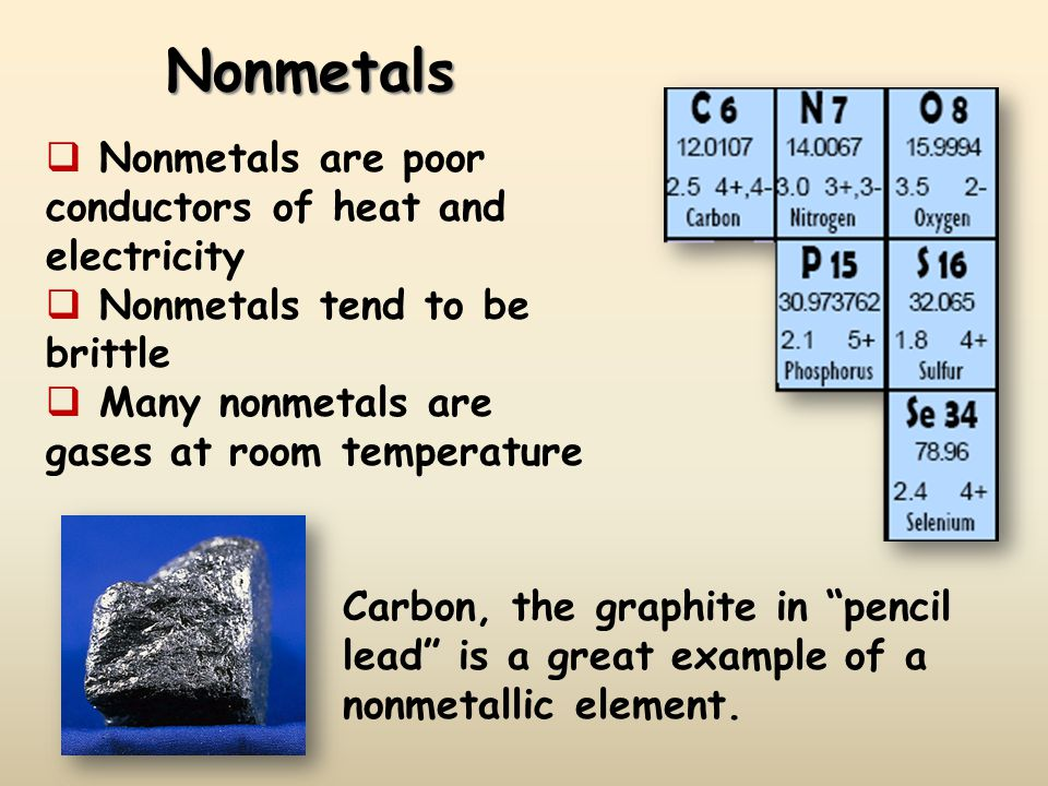 Nonmetals Nonmetals are poor conductors of heat and electricity