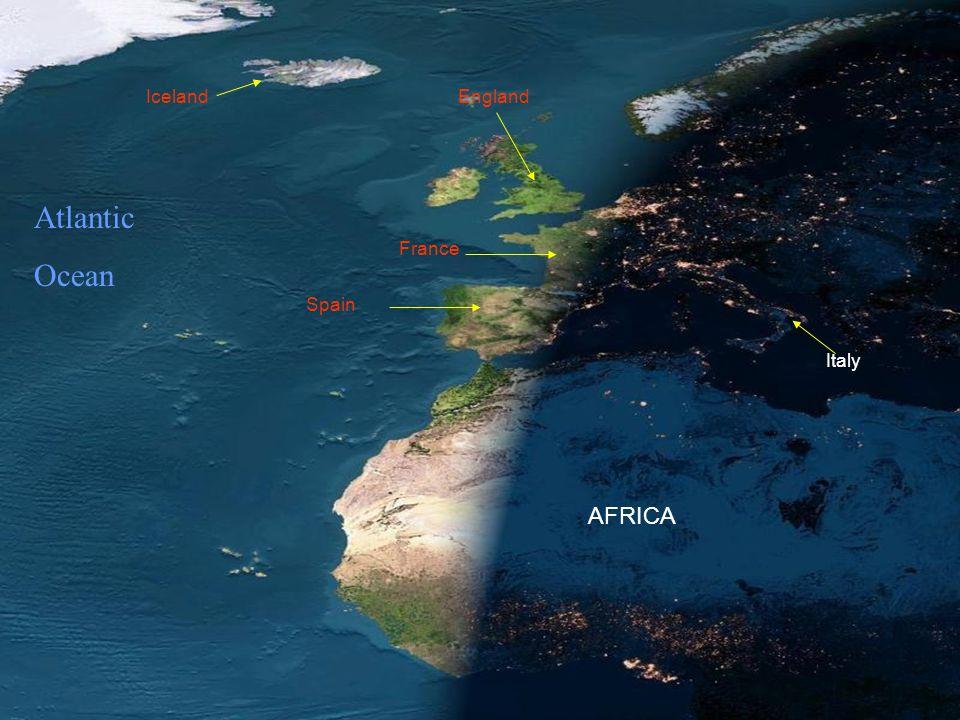 Iceland England Atlantic Ocean France Spain Italy AFRICA