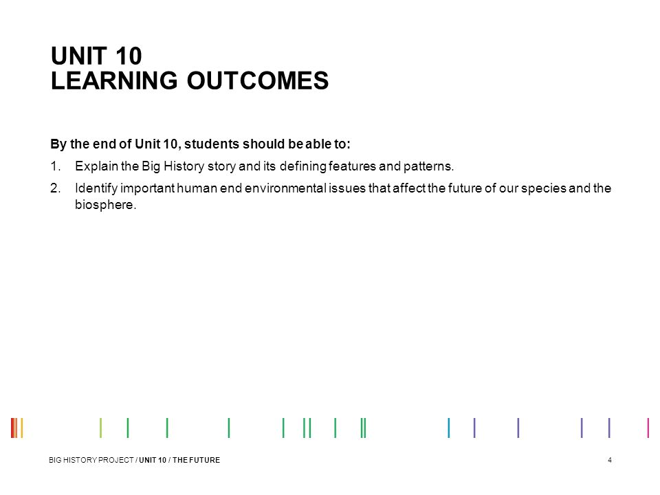 UNIT 10 LEARNING OUTCOMES