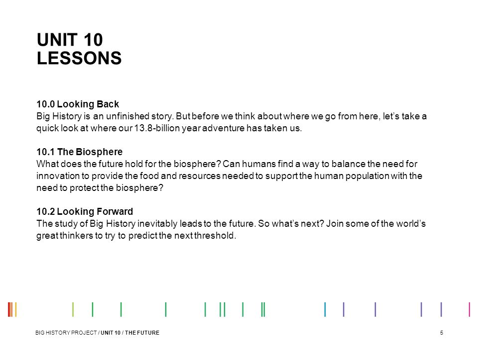 UNIT 10 LESSONS 10.0 Looking Back