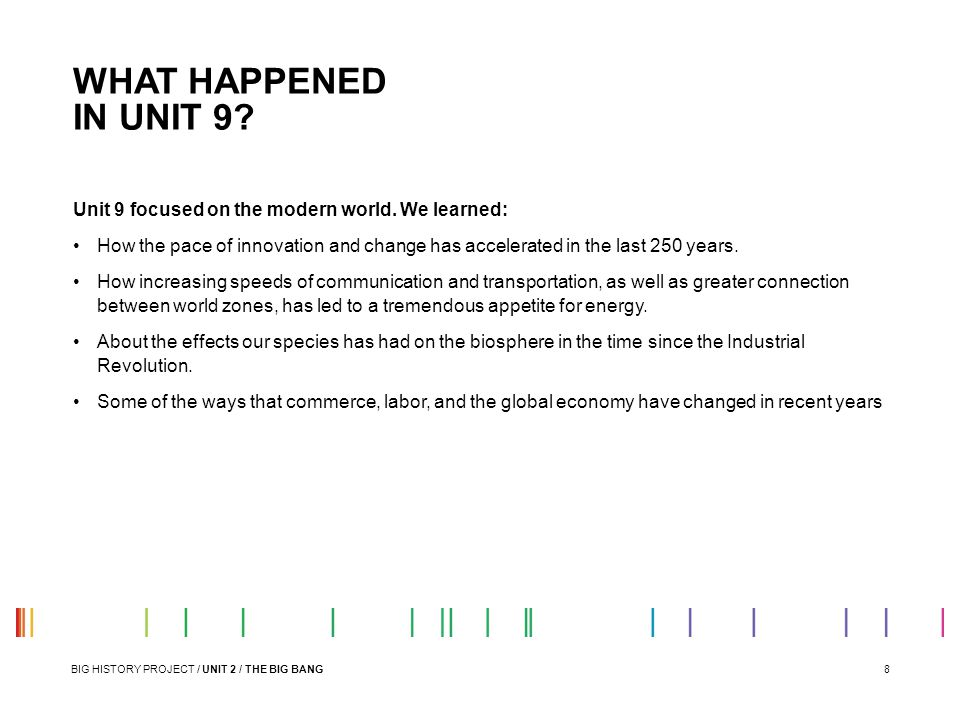 WHAT HAPPENED IN UNIT 9 Unit 9 focused on the modern world. We learned:
