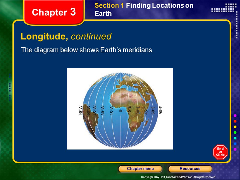 Chapter 3 Longitude, continued Section 1 Finding Locations on Earth