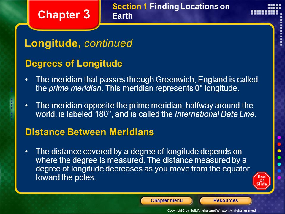 Chapter 3 Longitude, continued Degrees of Longitude