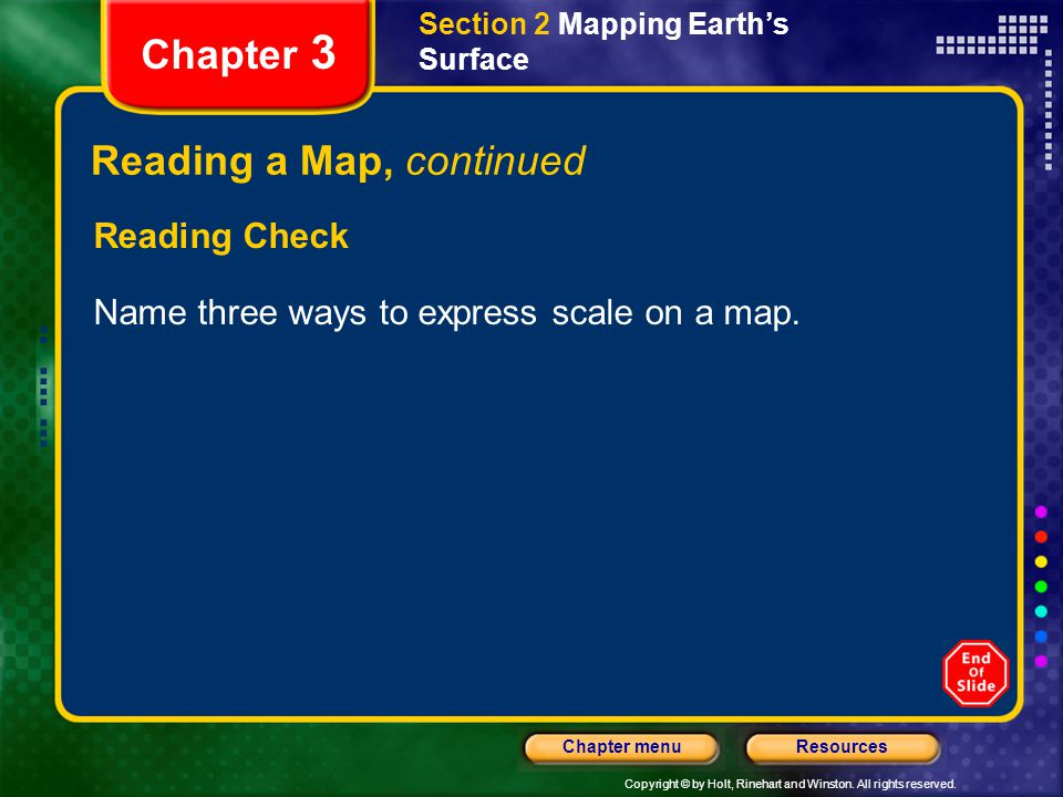 Reading a Map, continued
