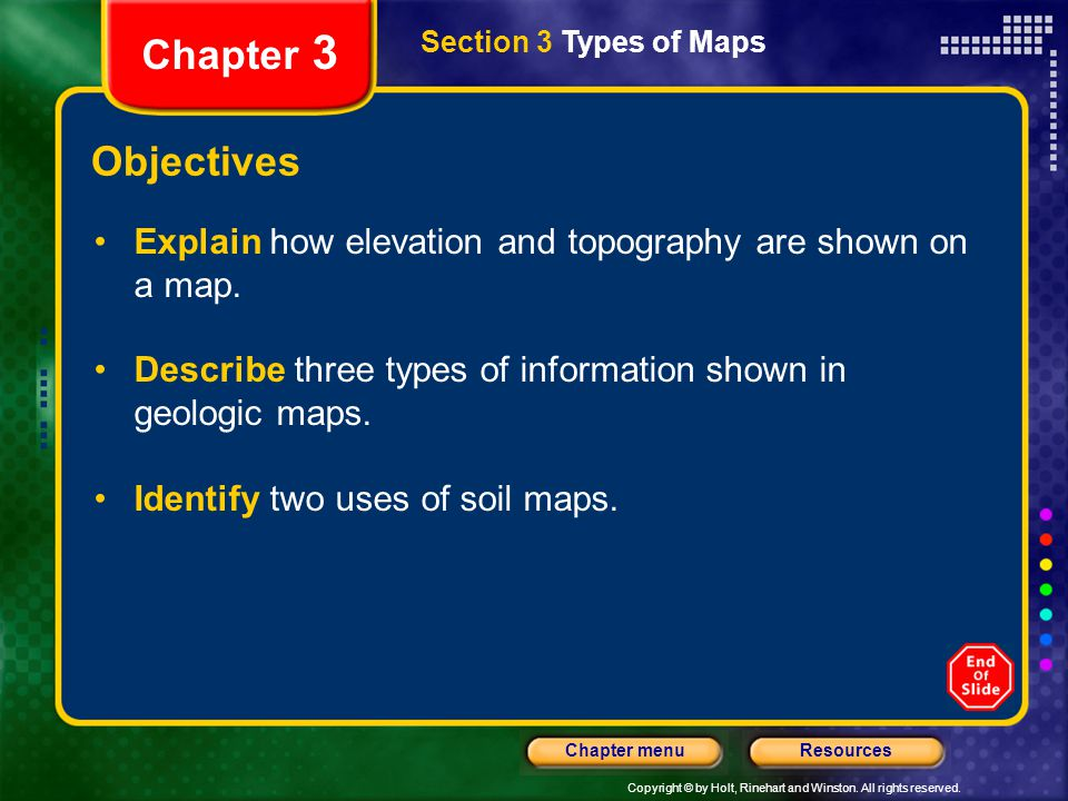 Chapter 3 Section 3 Types of Maps. Objectives. Explain how elevation and topography are shown on a map.