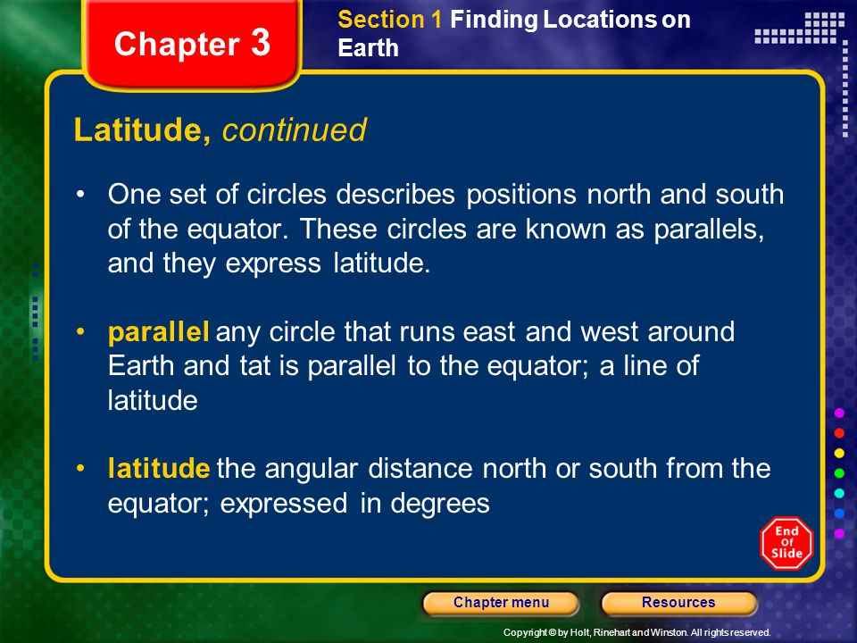 Chapter 3 Latitude, continued