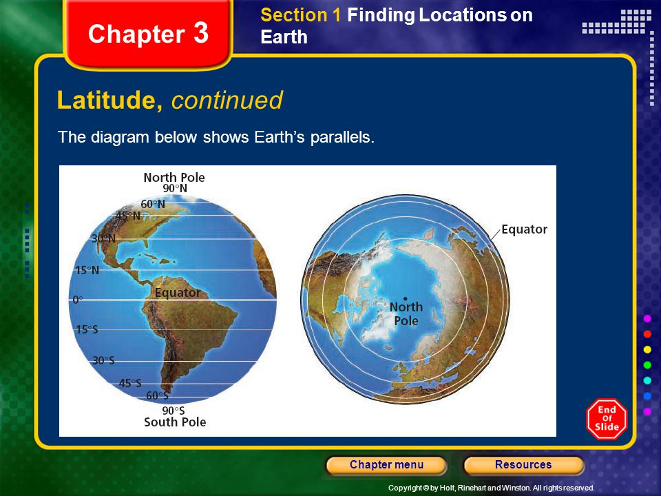 Chapter 3 Latitude, continued Section 1 Finding Locations on Earth