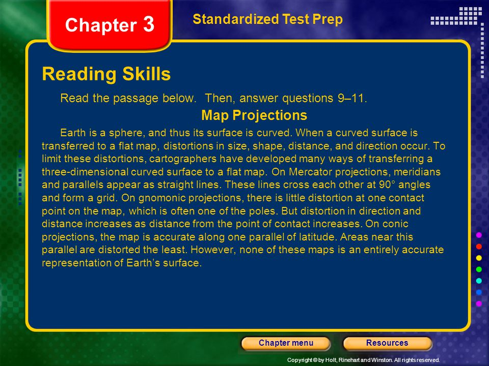 Chapter 3 Reading Skills Standardized Test Prep Map Projections