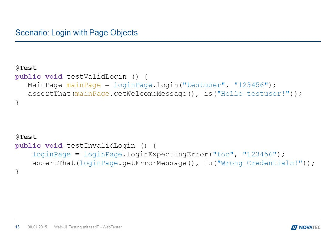 Scenario: Login with Page Objects