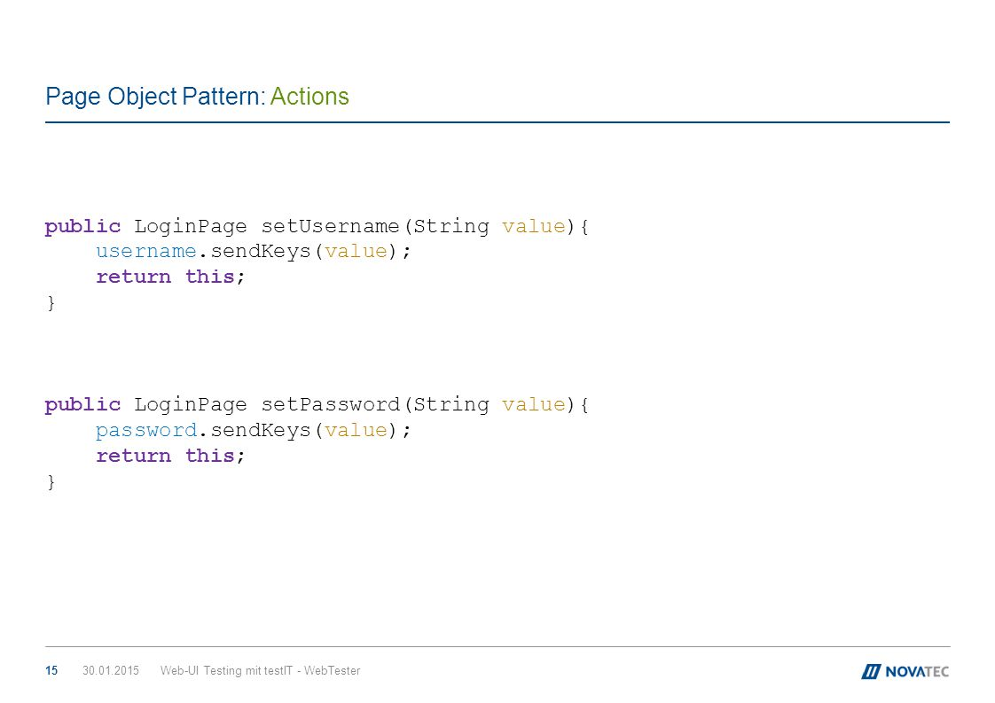 Page Object Pattern: Actions