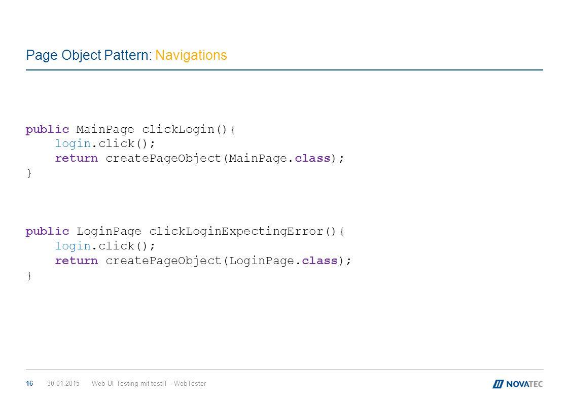 Page Object Pattern: Navigations