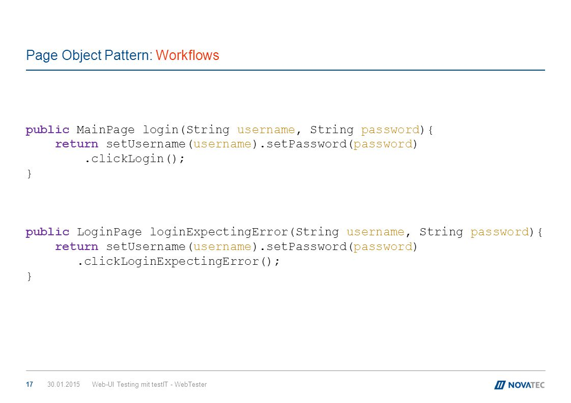 Page Object Pattern: Workflows