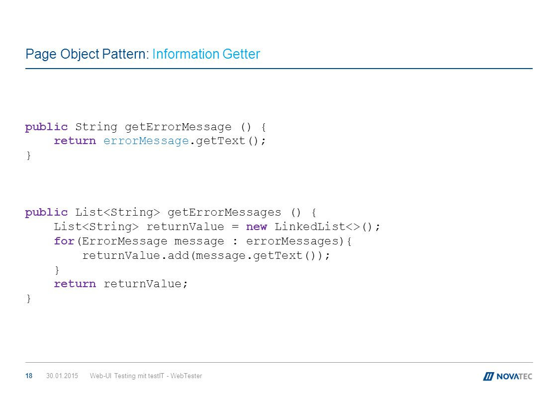 Page Object Pattern: Information Getter