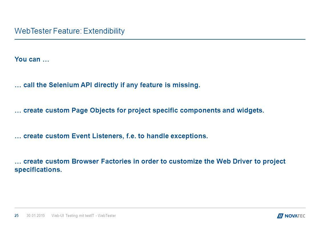 WebTester Feature: Extendibility