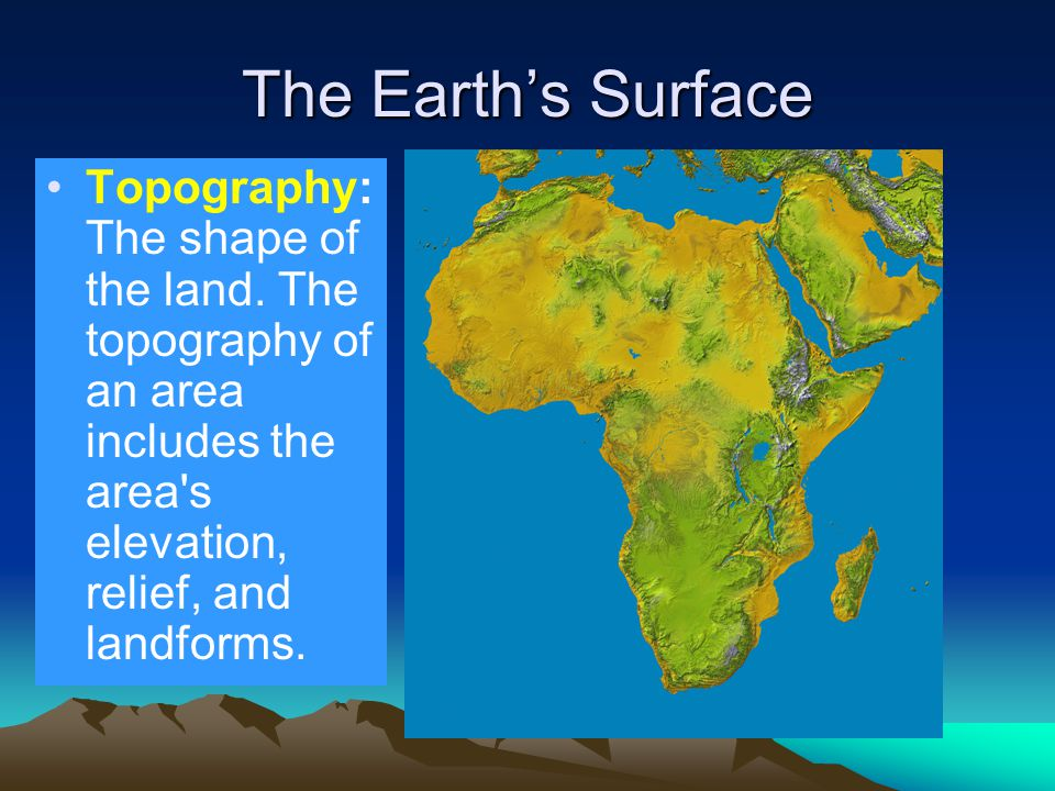 The Earth's Surface Topography: The shape of the land.