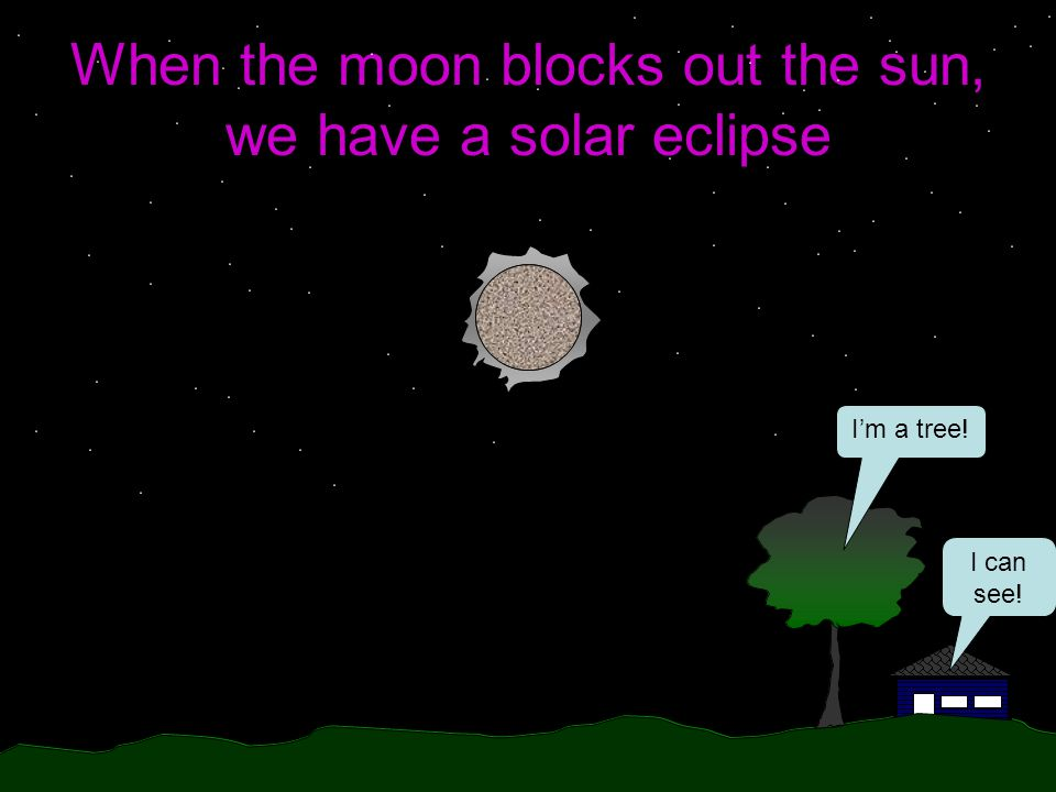 When the moon blocks out the sun, we have a solar eclipse