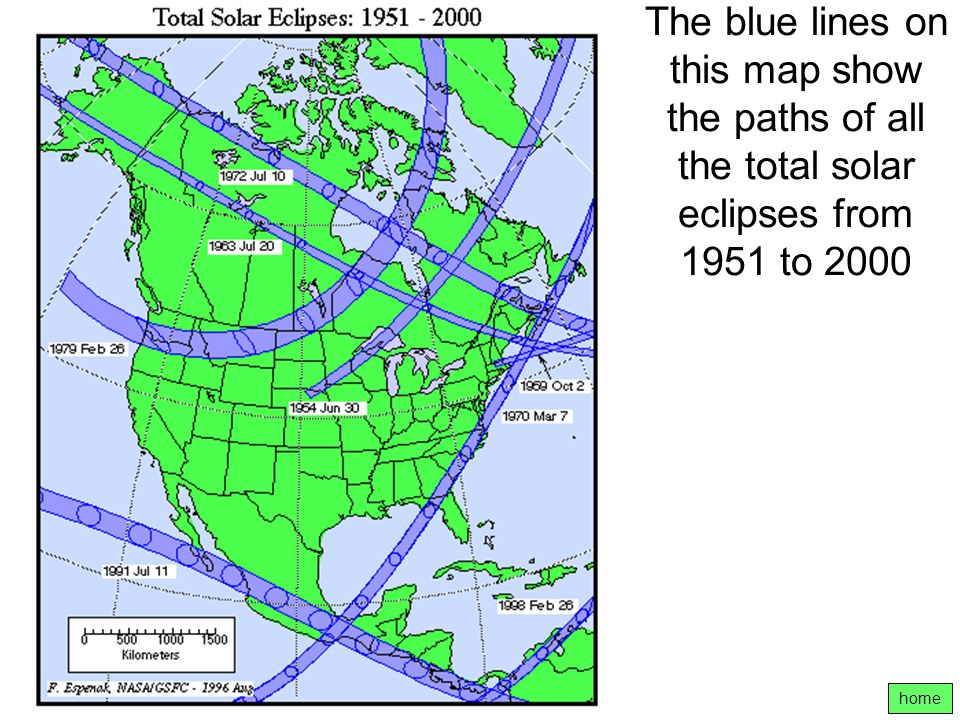 The blue lines on this map show the paths of all the total solar eclipses from 1951 to 2000