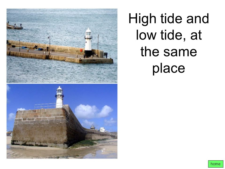 High tide and low tide, at the same place