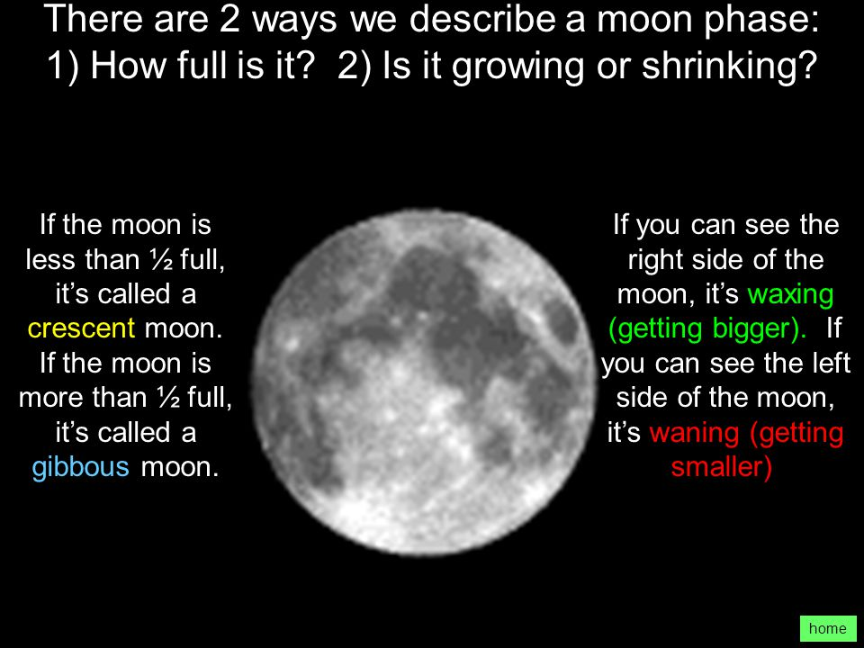 There are 2 ways we describe a moon phase: 1) How full is it