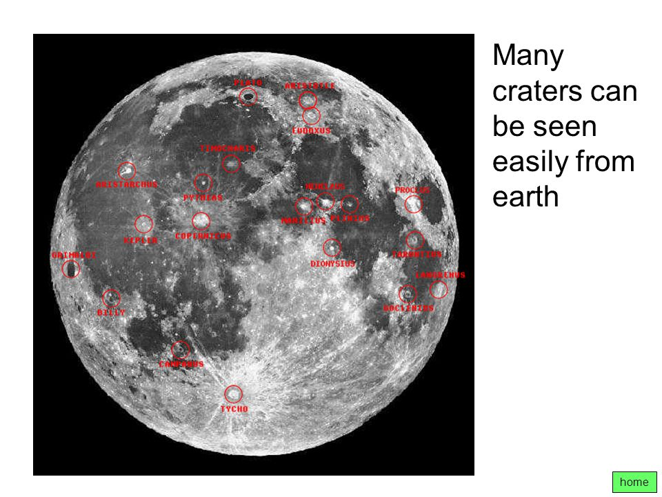Many craters can be seen easily from earth