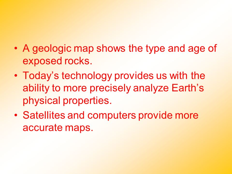 A geologic map shows the type and age of exposed rocks.