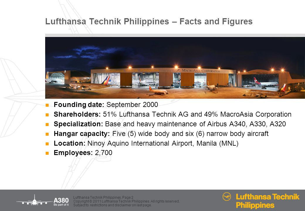 Lufthansa Technik Philippines – Facts and Figures