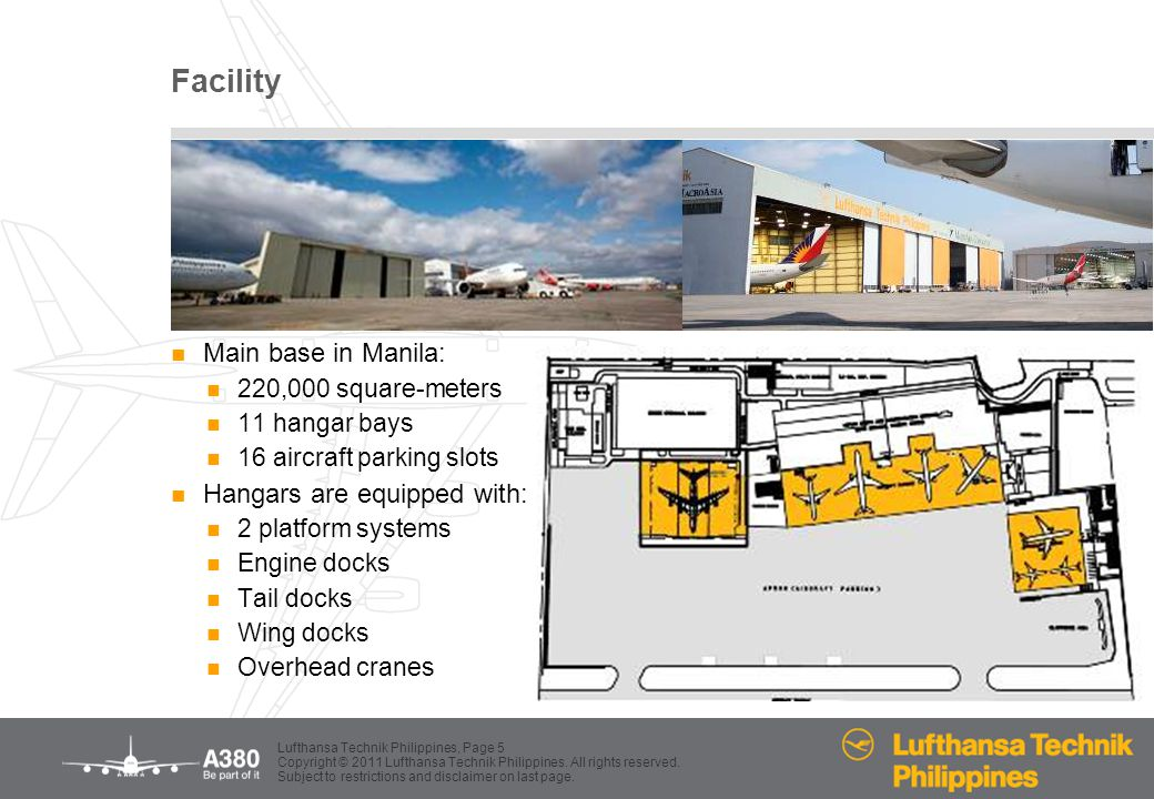 Facility Main base in Manila: Hangars are equipped with: