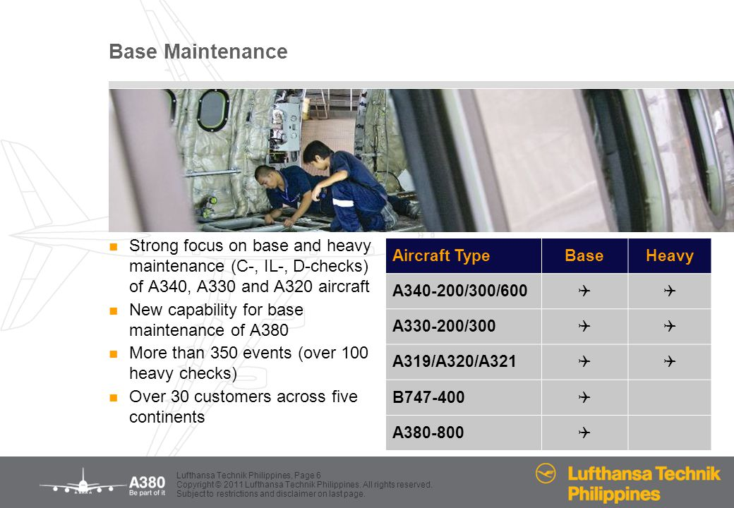 Base Maintenance Strong focus on base and heavy maintenance (C-, IL-, D-checks) of A340, A330 and A320 aircraft.