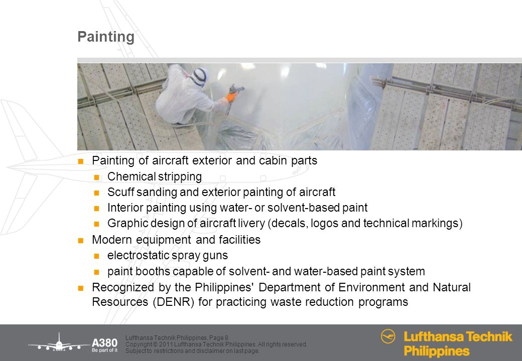 Painting Painting of aircraft exterior and cabin parts