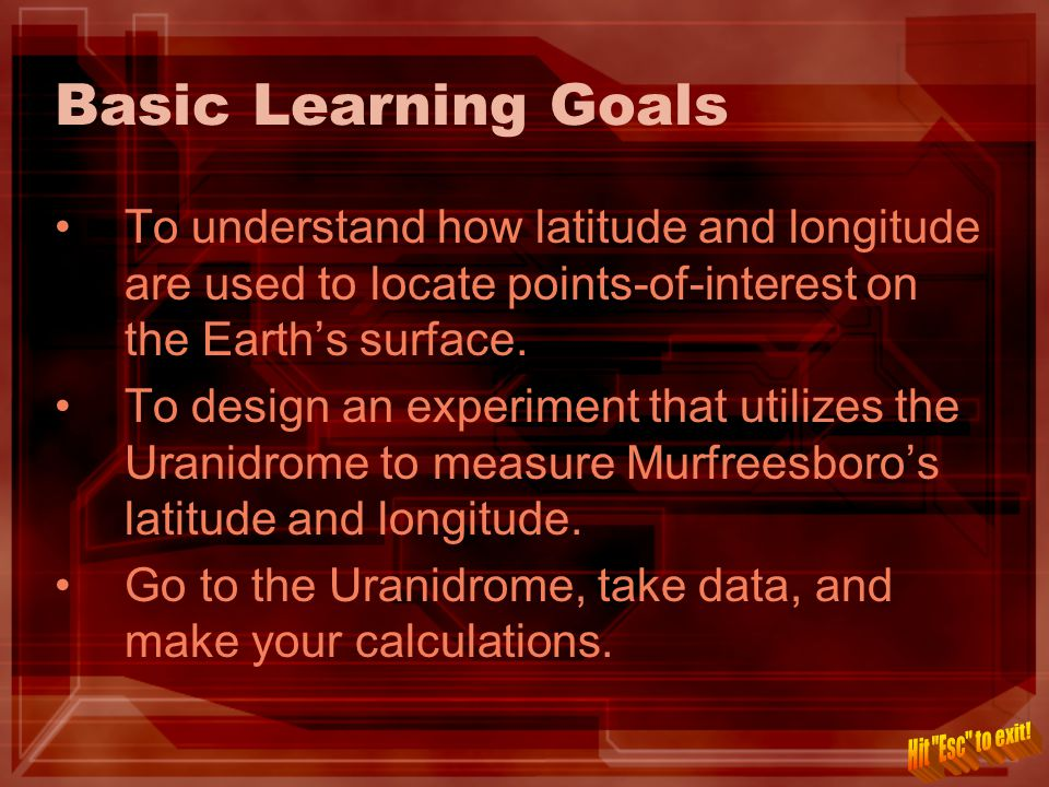 Basic Learning Goals To understand how latitude and longitude are used to locate points-of-interest on the Earth's surface.