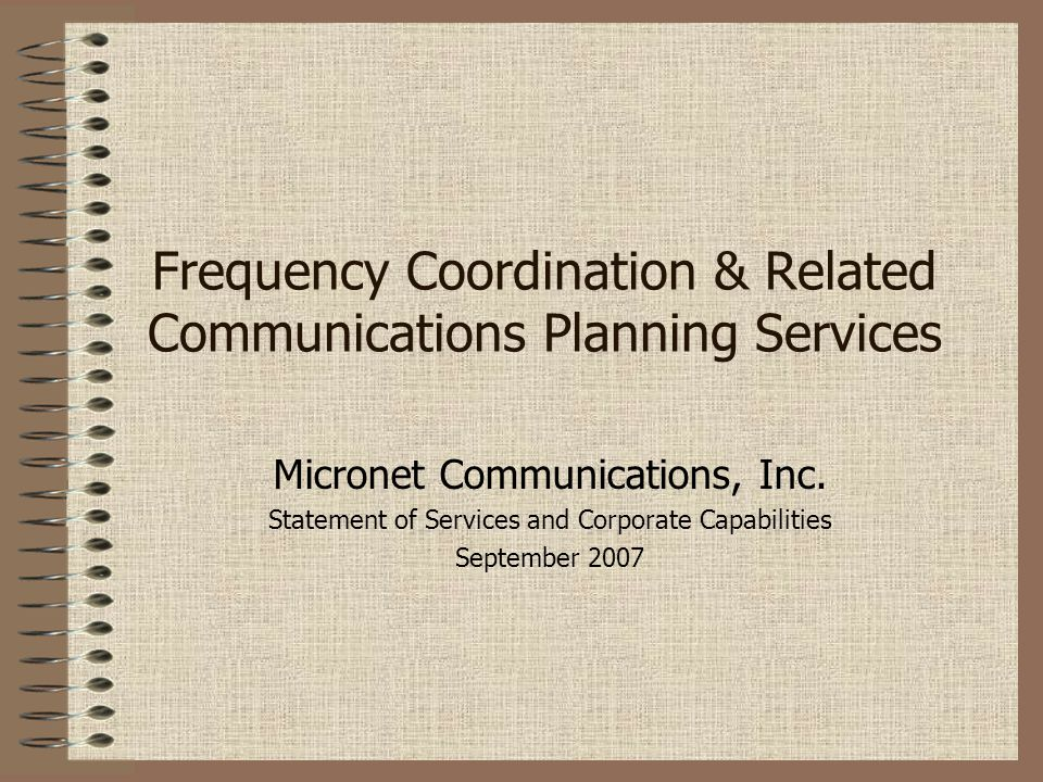 Frequency Coordination & Related Communications Planning Services
