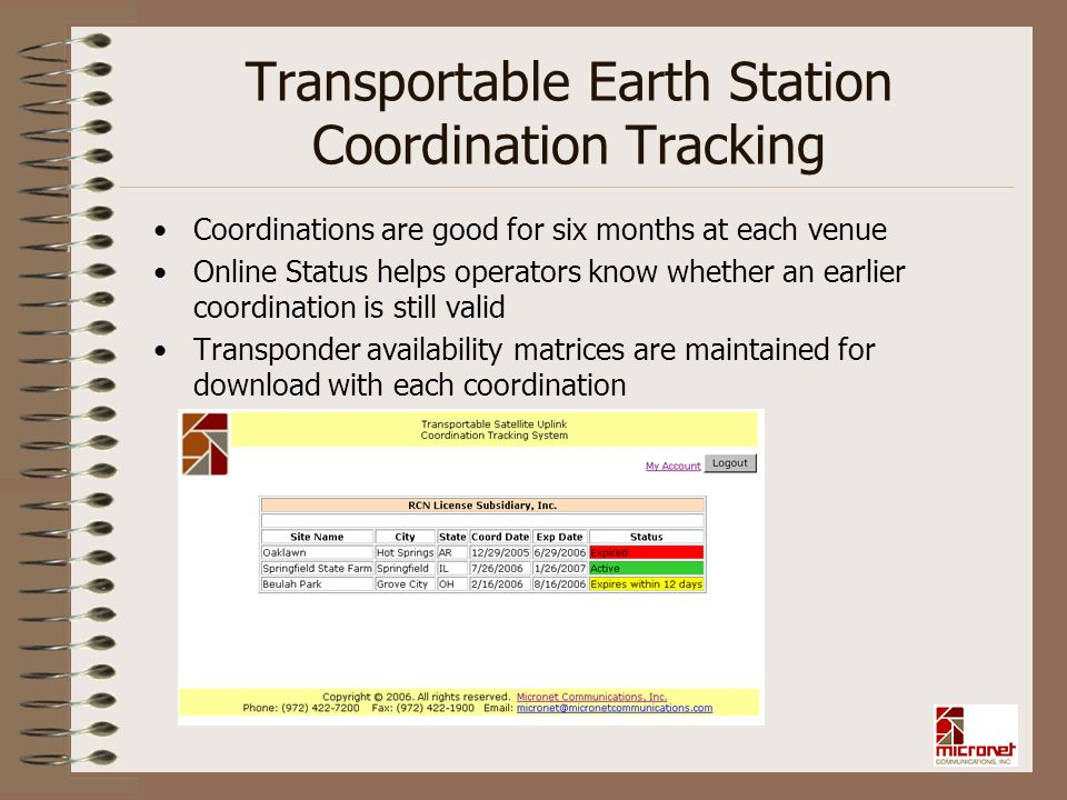 Transportable Earth Station Coordination Tracking
