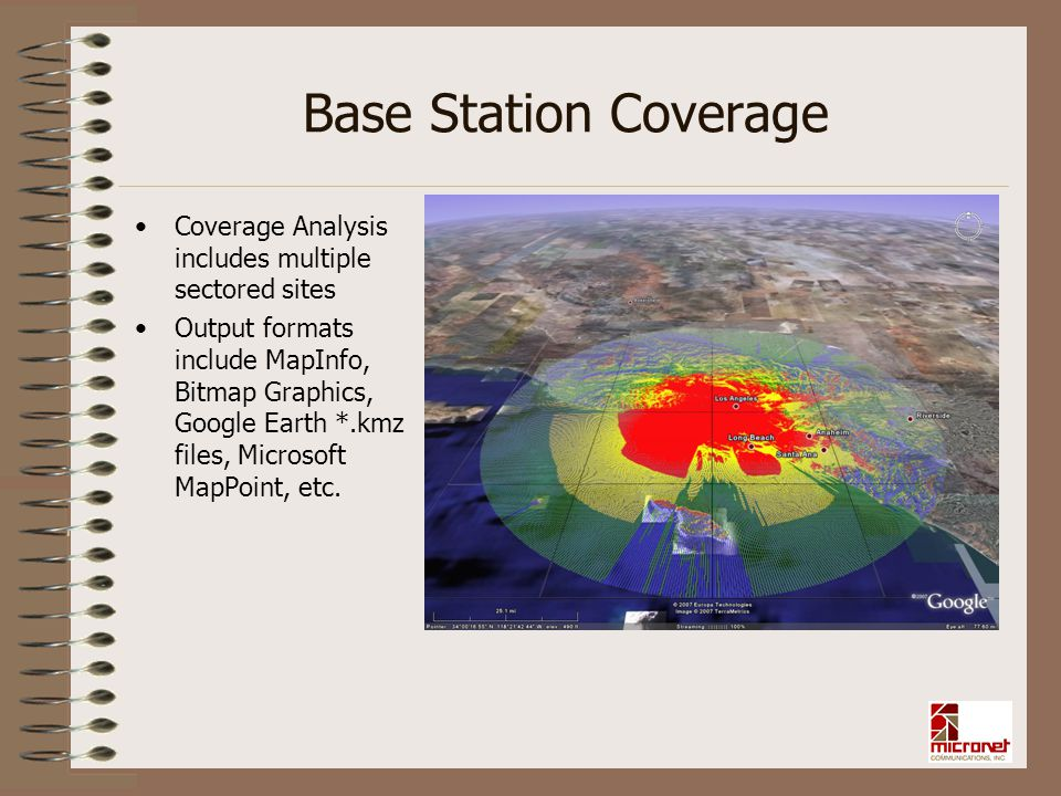 Base Station Coverage Coverage Analysis includes multiple sectored sites.